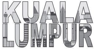 Illustration de vecteur de Kuala Lumpur Skyline Text Outline Photographie stock