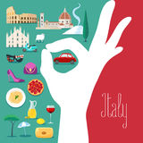 Illustration de vecteur de l'Italie avec les couleurs italiennes de drapeau et l'excellent signe Illustration de Vecteur