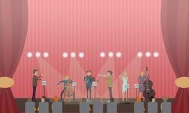 Illustration de vecteur de l'orchestre symphonique et de l'assistance illustration libre de droits