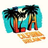Illustration de vecteur de la Californie, Los Angeles avec des paumes, conception de vintage Photos libres de droits