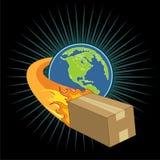 Illustration de vecteur de la terre, flammes chaudes Images stock