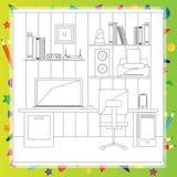 Illustration de vecteur de lieu de travail moderne - livre de coloriage Image libre de droits