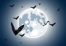 Illustration de vecteur de lune réaliste avec 'bat' Photographie stock