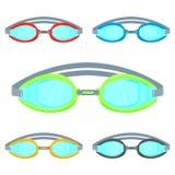 Illustration de vecteur de lunettes de piscine d'isolement sur l'ensemble blanc de fond Photographie stock libre de droits