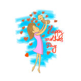 Illustration de vecteur de mère et de fille Images libres de droits