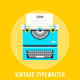 Illustration de vecteur de machine à écrire plate de vintage Images libres de droits