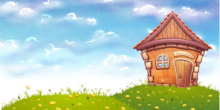 Illustration de vecteur de maison de bande dessinée sur le pré Photographie stock libre de droits