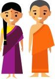 Illustration de vecteur de moine et de femme d'Inde Image stock