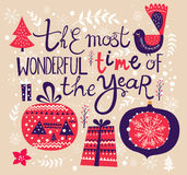 Illustration de vecteur de Noël avec des décorations Image libre de droits