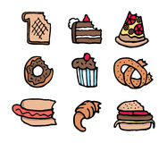 Ensemble de nourriture mordu par bande dessinée Illustration Libre de Droits