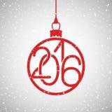 Illustration de vecteur de nouvelle année, carte postale, 2016 sous forme de boule décorative d'arbre de Noël Images libres de droits