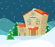 Illustration de vecteur de paysage d'hiver avec Photographie stock libre de droits