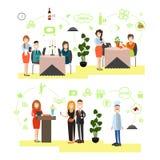 Illustration de vecteur de personnes de restaurant dans le style plat Photographie stock libre de droits