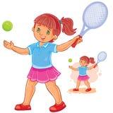 Illustration de vecteur de petite fille jouant le tennis illustration stock