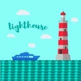 Illustration de vecteur de phare Paysage de mer Photo stock
