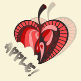 Illustration de vecteur de pomme Apple dans un rétro style Images libres de droits