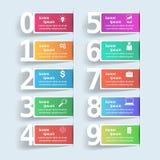 Illustration de vecteur de style d'origami de boîte d'Infographics d'affaires Liste de 10 articles Image libre de droits