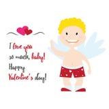 Illustration de vecteur de style de bande dessinée d'ange de cupidon de Valentine Day Image libre de droits