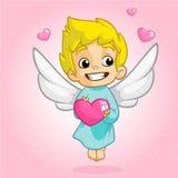 Illustration de vecteur de style de bande dessinée d'ange de cupidon de Valentine Day Jouer d'enfant de cupidon d'Amur Images libres de droits