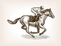 Illustration de vecteur de style de croquis de courses de cheval Photo stock