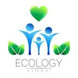 Illustration de vecteur de symbole d'écologie Signez avec le coeur humain et la feuille de famille d'isolement sur le fond blanc  illustration stock