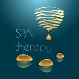 Illustration de vecteur de thérapie de station thermale avec des baisses jaunes Photo libre de droits