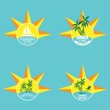 Illustration de vecteur de typographie de lettrage de label d'été sur le fond clair Éléments de conception de vintage, logos, lab Photographie stock libre de droits