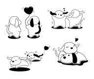 Illustration de vecteur de Valentine Dog Cartoon Monochrome Poses Photographie stock