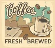 Illustration de vecteur de vintage de tasse de café et de papier d'actualités sur la table Rétro calibre d'affiche Vieille nourri Photos libres de droits