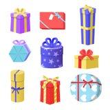 Illustration de vecteur des boîte-cadeau, ensemble de boîte-cadeau de Noël illustration stock