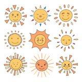 Illustration de vecteur des caractères mignons du soleil de bande dessinée Photographie stock