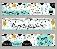 Illustration de vecteur des cartes de joyeux anniversaire Façonnez le fond avec le petit gâteau, ballon, étincelles d'or Éléments illustration de vecteur