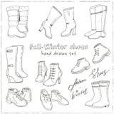 Illustration de vecteur des chaussures de chute et d'hiver de femme, bottes réglées Main-noyez les illustrations de chaussures illustration libre de droits