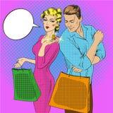 Illustration de vecteur des couples d'achats parlant entre eux illustration libre de droits