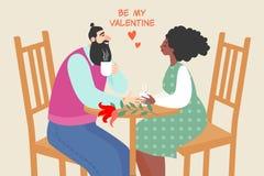 Illustration de vecteur des couples mignons situant dans un café et un café potable illustration de vecteur