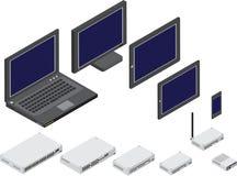 Illustration de vecteur des dispositifs de réseau Images stock
