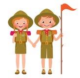 Illustration de vecteur des enfants garçon et filles scout Images stock