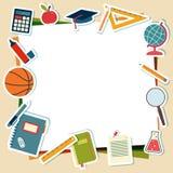 Illustration de vecteur des fournitures scolaires et des outils Photographie stock