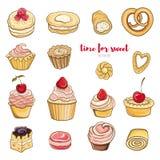 Illustration de vecteur des gâteaux délicieux Photographie stock