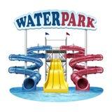 Illustration de vecteur des glissières bleues de vis, rouges et jaunes en plastique avec de l'eau dans la piscine au parc aquatiq illustration stock