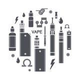 Illustration de vecteur des icônes de vape Images stock