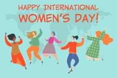 Illustration de vecteur des jeunes femmes heureuses de différentes nationalités sur le fond de la carte du monde illustration de vecteur