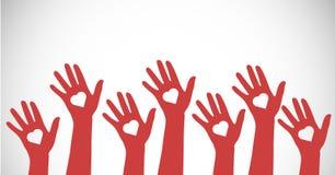 Illustration de vecteur des mains avec des formes de coeur illustration libre de droits