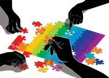 Illustration de vecteur des mains composant le puzzle. Images libres de droits