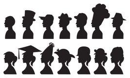 Illustration de vecteur des personnes dans différents chapeaux illustration libre de droits