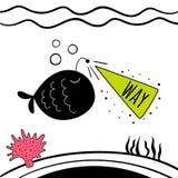 Illustration de vecteur des poissons mignons Copie de bébé Illustration de conception de fond de dessin animé? avec l'espace du t Image libre de droits