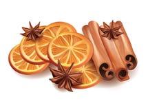 Illustration de vecteur des tranches, des bâtons de cannelle et de l'étoile oranges Anice sur le fond blanc Image libre de droits
