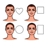 Illustration de vecteur des types de visage Photos stock
