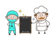Illustration de vecteur de diagramme de Presenting Diet Plan de chirurgien et de chef de bande dessinée Image libre de droits