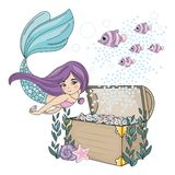 Illustration de vecteur de DIAMOND Sea Travel Clipart Color de SIRÈNE réglée pour la copie illustration stock